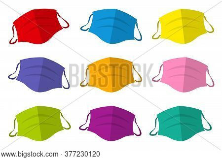 Colorful Protective Masks, Colored Medical Face Mask Collection. Isolated Vector Illustration On Whi
