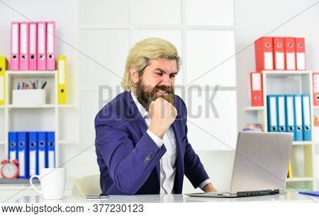Company Executive Working With Documents. Mature Man Business Intelligence. Regular Office Life. Res