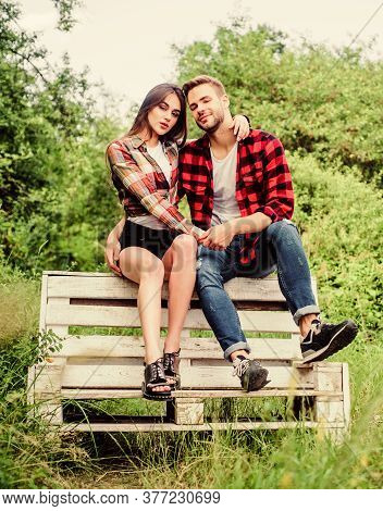 Romantic Story. Valentines Day. Summer Camping In Forest. Couple In Love. Checkered Fashion. Man Wit