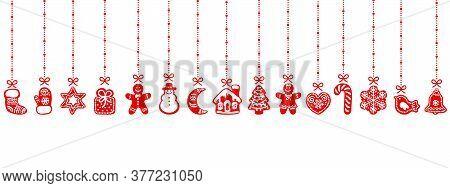 Christmas Gingerbread Cookies Hanging On Red Ribbons. Seamless Border. Vector Illustration Isolated
