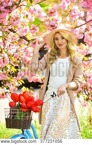 Look Over There. Spring Blooming Tree Of Japanese Sakura. Cherry Beauty. Flower Shop. Girl Flower Se
