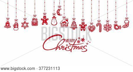 Christmas Decoration. Gingerbread Cookies Hanging On Red Ribbons. Merry Christmas Handwritten Text O