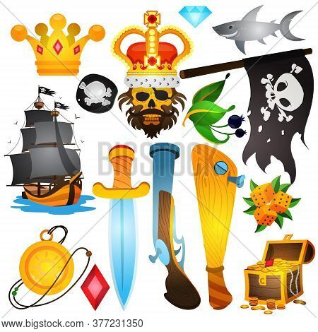Set Illustrations With Pirate Attributes. Various Items Medieval Pirates. Drawing On Themes Ganster