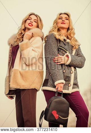 Girls Enjoy Cozy Fancy Chic Coats. Natural Wool Sheepskin Coats. Fur Shop. Backpack Fashion Accessor
