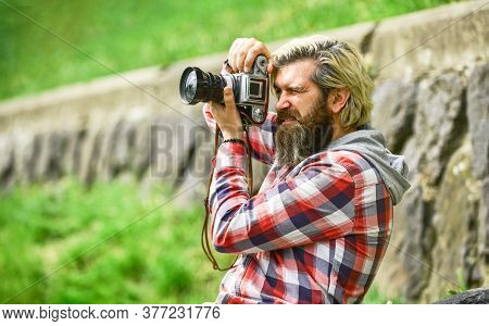 Photographer Concept. Photographer Amateur Photographer Nature Background. Content Creator. Man Bear