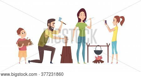 Family On Camping Trip. Tourists In Nature, Summer Or Autumn Camp. Man Chopped Wood, Woman Cooks On