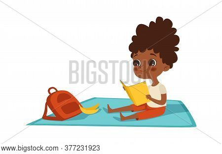 Girl Reading. Afroamerican Child With Book And Backpack Sits On Plaid. Summer Activity, Self Educati