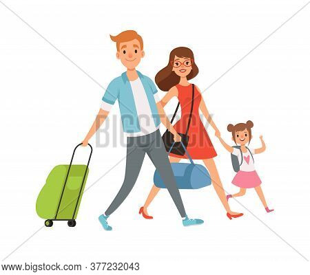 People With Suitcase. Family On Vacation, Travel Time. Summer Holidays, Domestic Tourism. Isolated C