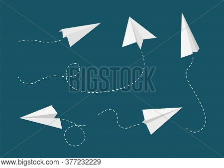 Flying Paper Planes. Airplane Paths, White Aircrafts Vector Collection. Plane Origami, Aviation Flig