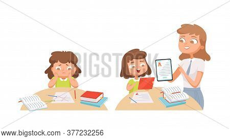 Girl Studying. Self Education, Teacher Helps Student. Individual Training, Problems With Learning Ma