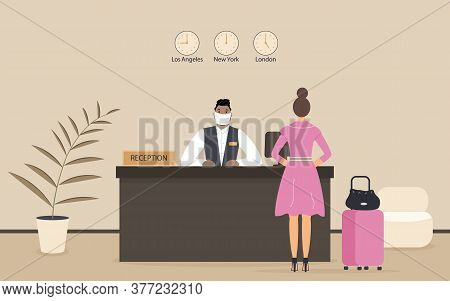 Receptionist Afro Male In Protective Medical Mask Behind Workplace Serve Lady In Hotel Or Bank. Inte