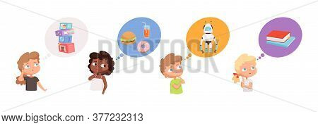 Kids Dreaming. Little Boys Girls Thinking About Gifts, Robots Toys Food Books. Pensive Children Vect