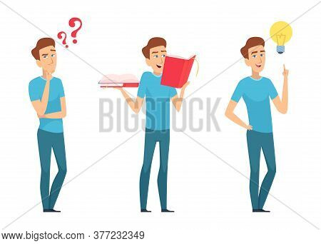 Man Find Answers. Self Education Or Finding Solution Concept. Young Boy With Questions And Books Has