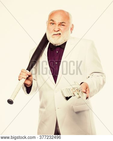 Senior Man Hold Cash Money And Baseball Bat. Richness Wellbeing. Money Profit. Personal Security. Su