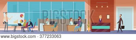 Office Workspace. Managers Business People Working At Computers Modern Startup Project Vector Person