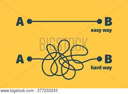 Easy Way. Complicated Problem Path Shape Difficult And Easiness Way Vector Concept. Illustration Cur