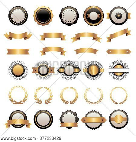 Badges Kit. Premium Logotypes Collection Shields Ribbons Various Shapes Geometrical Forms Vector Tem
