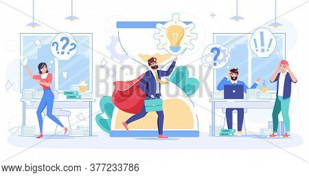 Businessman Bring Creative Startup Idea, Good Result, New Plan Suggestion To Tired Overworked Office