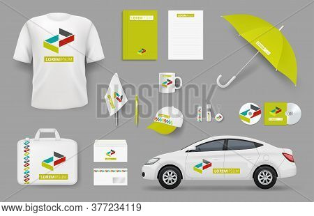 Business Identity Items. Corporate Branding Souvenir Stationery Office Tools Vector Collection. Busi