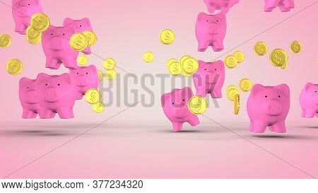 Concept Of Financial Success, Pig - Piggy Bank. 3d Rendering
