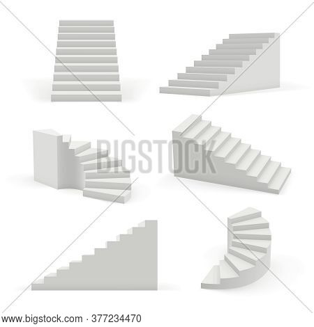 Stairs Modern. 3d White Architectural Objects For Interior Space Up And Down Steps Vector Templates.