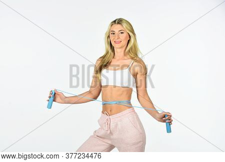 Focused On Result. Burn Calories. Sexy Fitness Girl Use Jump Rope. Sport Training. Attractive Fit Wo