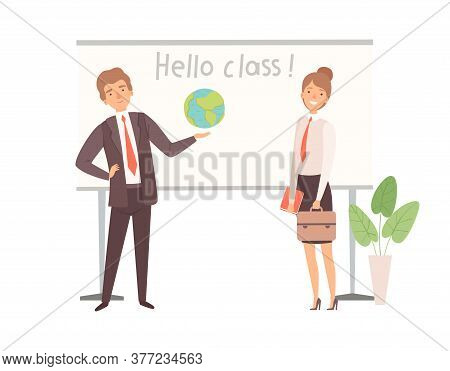 Teachers Characters. Happy Man Woman Near Interactive Blackboard, Back To School Vector Illustration