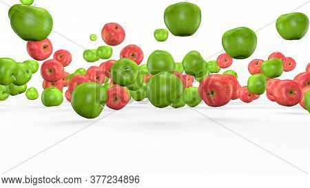 Fruit Mix, Animated Fruit Movement, 3d Rendering.