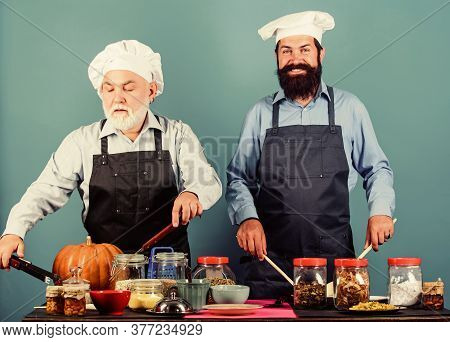 Say No To Unhealthy Food. Cereals And Seasoning. Professional Restaurant Cook. Mature Senior Bearded
