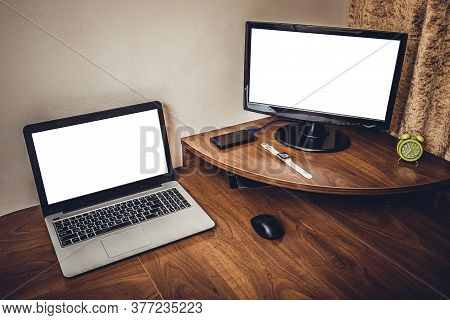 Comfortable Workplace With Laptop In Office. Design Of Workplace In Home Office With Modern Equipmen
