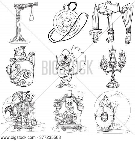 Set Illustrations With Pirate Attributes. Various Items Medieval Pirates. Cartoon Drawing For Gaming
