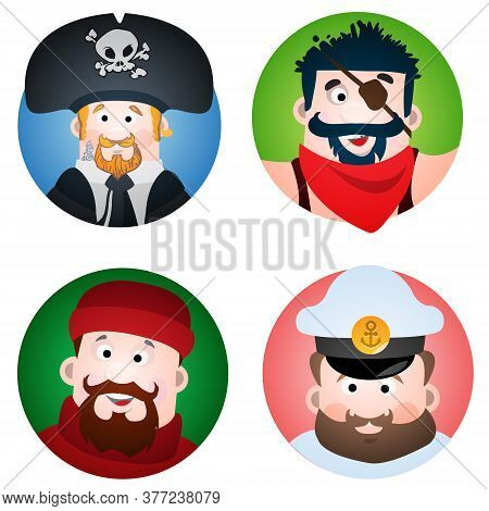 Set Of Four Round Of Avatars With A Picture Of Pirates And Sailors. The Pirate, Sailor, Fisherman An