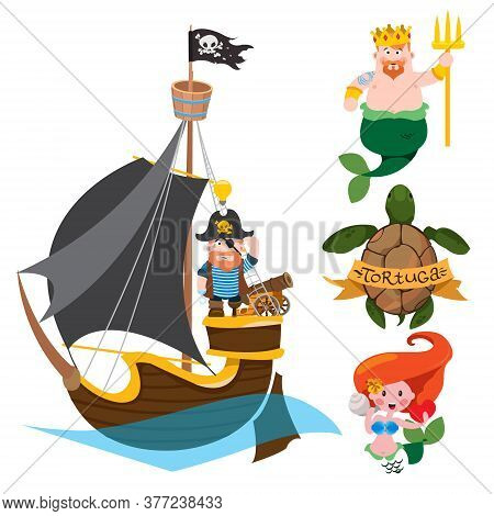 Set Of Labels For Design Items With A Pirate Theme. Cartoon Illustration For Gaming Mobile Applicati