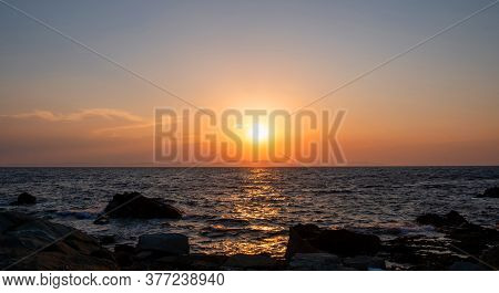 Sunrise, Sunset.twilight, Dusk Sky Over Sea Water, Land Silhouette