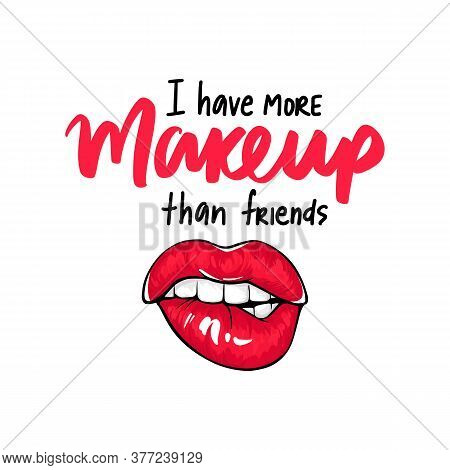 Sexy Lips, Bite Ones Lip. Lips Biting. Female Lips With Red Lipstick. Makeup Quote. Sketch Style.