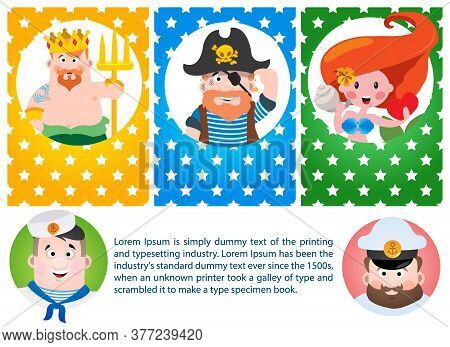 A Set Of Cards With The Image Of Neptune, Mermaids And Pirate Captain. Avatars With Cartoon Characte