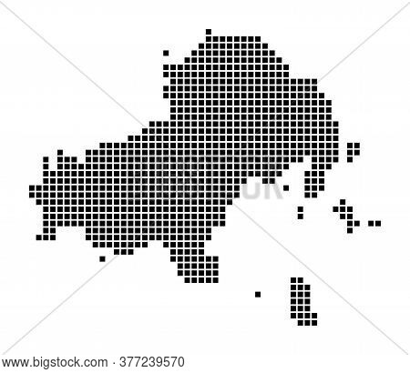 Skiathos Map. Map Of Skiathos In Dotted Style. Borders Of The Island Filled With Rectangles For Your