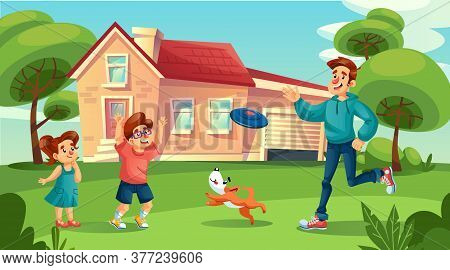 Happy Father Cheerful Children Dog Pet Play Flying Disk In Countryside House Yard. Summer Leisure Fa