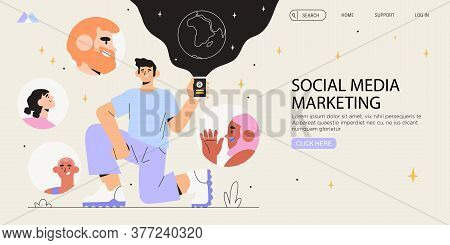 Man Holding Smartphone. Influencer Marketing Banner, Flyer, Web Page. Social Media Account Promotion