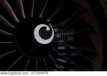 Turbine Blades Of An Aircraft Jet Engine. Close Up Turbines Engine. Aviation Technologies. Aircraft