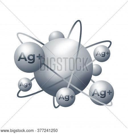 Silver Ions Emblem - Ag Plus Molecule Antibacterial Effect Of Ion Solution - Science, Chemistry And