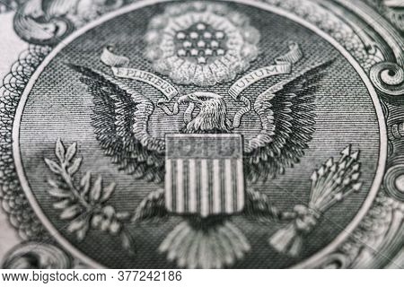 Eagle On 1 Dollar Bill Extreme Close-up, Finance, Capital, Wealth