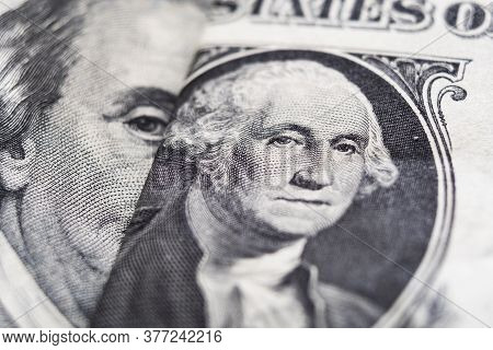 George Washington And Benjamin Franklin On Dollar Bills Extreme Close-up
