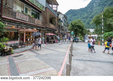 Crowds Of Shoppers In Wulai, An Atayal Aboriginal Village With Food Stalls And Restaurants