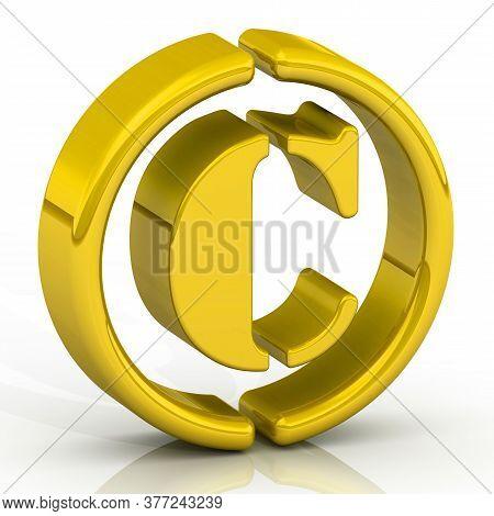 Copyright Mark. One Copyright Symbols On The Surface. 3d Illustration