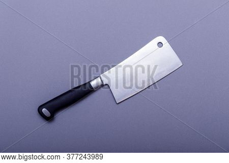Vintage Hatchet For Meat On Grey Board With Copy Space.