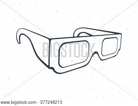 Outline Of Paper 3d Glasses Isometric View. Stereo Retro Glasses For Three-dimensional Cinema. Symbo
