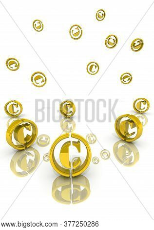 Copyright Marks. A Lot Of Copyright Symbols Fall Onto A White Surface. 3d Illustration
