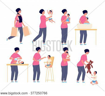 Mom And Baby. Mother Taking Care Kid, Flat Motherhood Character. Little Toddler Sleep Play Eating. W