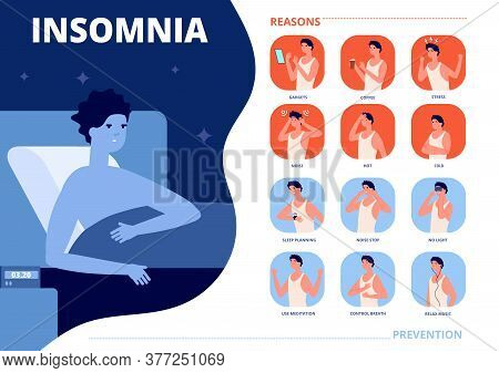 Insomnia Causes. Sleep Problem, Anxiety Nightmare Reasons And Prevention. Stressful Man In Bed, Nigh